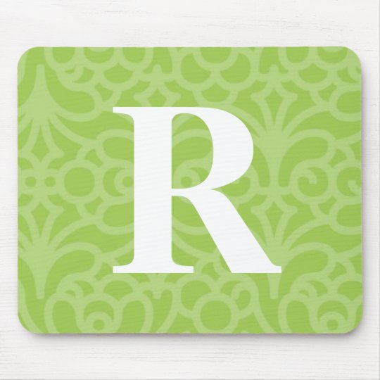 Ornate Floral Monogram - Letter R Mouse Pad