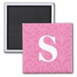 Ornate Floral Monogram - Letter S Refrigerator Magnet