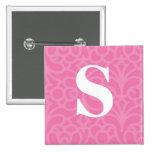 Ornate Floral Monogram - Letter S Pinback Button