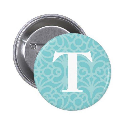 Ornate Floral Monogram - Letter T Button