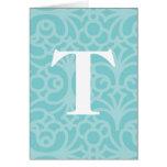 Ornate Floral Monogram - Letter T Cards
