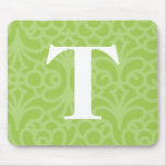 Ornate Floral Monogram - Letter T Mouse Pads