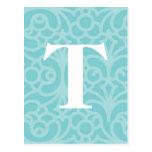 Ornate Floral Monogram - Letter T Post Cards