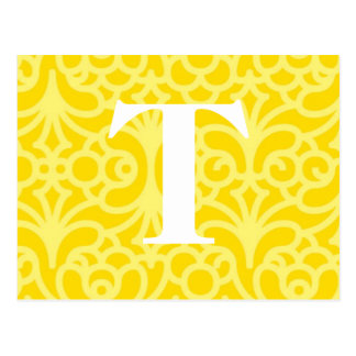 Ornate Floral Monogram - Letter T Postcard