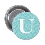 Ornate Floral Monogram - Letter U 2 Inch Round Button