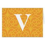Ornate Floral Monogram - Letter V Greeting Cards