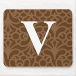 Ornate Floral Monogram - Letter V Mouse Pad