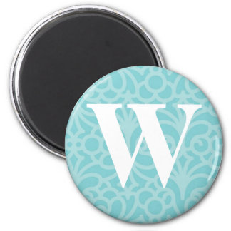 Ornate Floral Monogram - Letter W 2 Inch Round Magnet