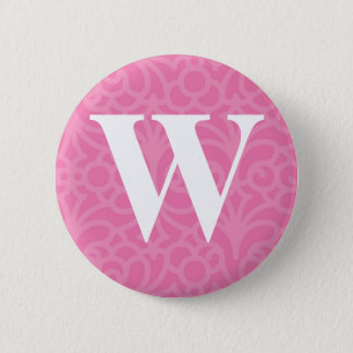 Ornate Floral Monogram - Letter W Button