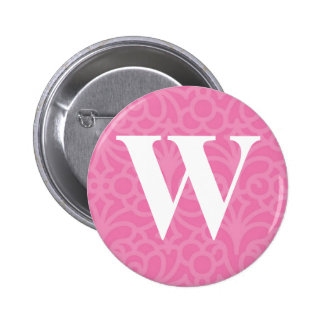 Ornate Floral Monogram - Letter W Buttons
