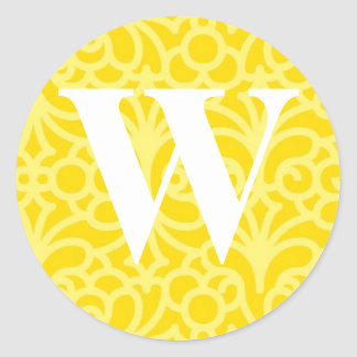 Ornate Floral Monogram - Letter W Classic Round Sticker