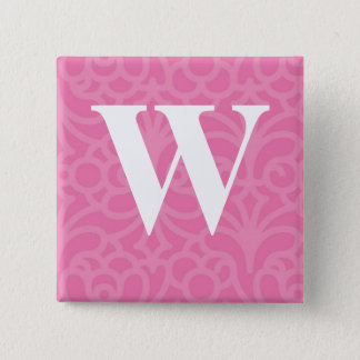 Ornate Floral Monogram - Letter W Pinback Button