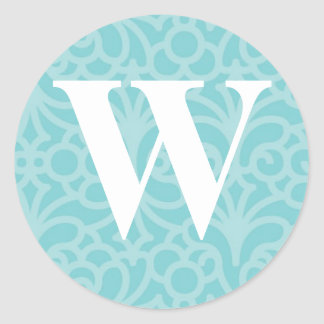 Ornate Floral Monogram - Letter W Round Stickers