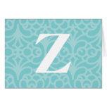 Ornate Floral Monogram - Letter Z Greeting Card