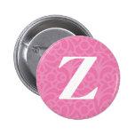 Ornate Floral Monogram - Letter Z Pinback Button