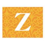 Ornate Floral Monogram - Letter Z Postcard