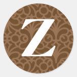 Ornate Floral Monogram - Letter Z Round Sticker