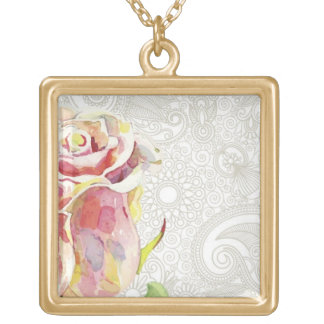 Ornate Floral Pattern With Pink Watercolor Rose Gold Plated Necklace