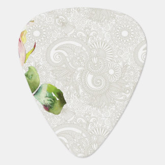 Ornate Floral Pattern With Pink Watercolor Rose Guitar Pick