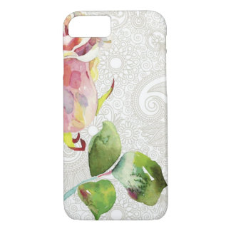 Ornate Floral Pattern With Pink Watercolor Rose iPhone 7 Case