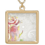 Ornate Floral Pattern With Pink Watercolor Rose Square Pendant Necklace