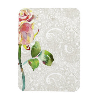 Ornate Floral Pattern With Pink Watercolor Rose Rectangular Photo Magnet