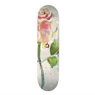 Ornate Floral Pattern With Pink Watercolor Rose Skateboard