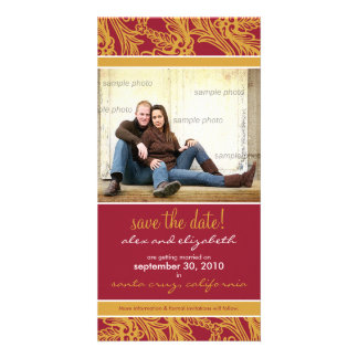 Ornate Floral Save the Date Announcement Photo Card