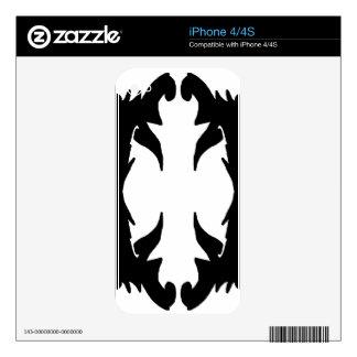 Ornate Flourish Black White Pattern Design Decals For iPhone 4