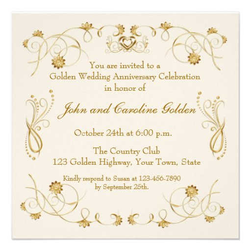 Ornate Flourish Ivory, Gold Invitation