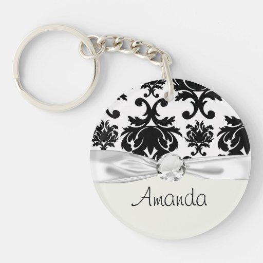 ornate formal black white damask acrylic keychain
