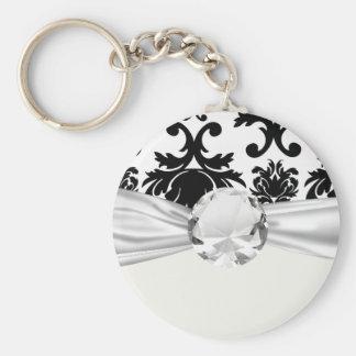 ornate formal black white damask basic round button keychain