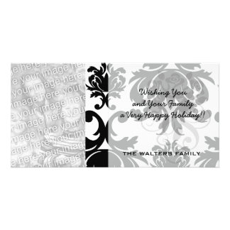 ornate formal black white damask card
