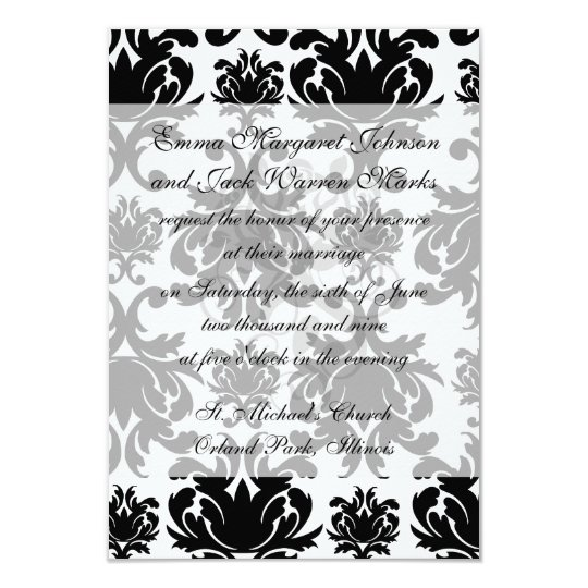 ornate formal black white damask card