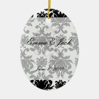 ornate formal black white damask ceramic ornament