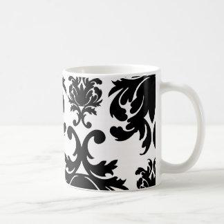 ornate formal black white damask coffee mug