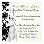 ornate formal black white damask custom invites