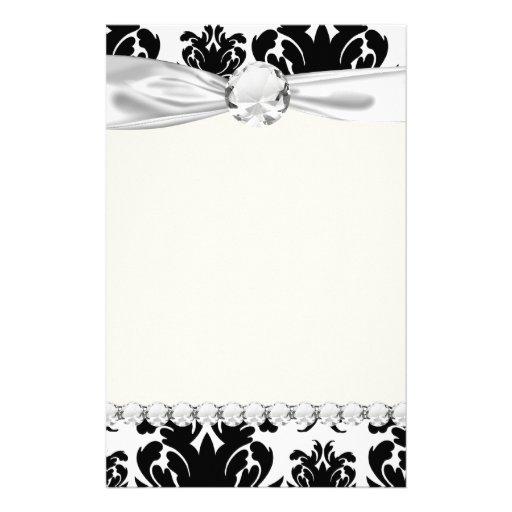 ornate formal black white damask custom stationery