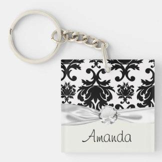 ornate formal black white damask Double-Sided square acrylic keychain