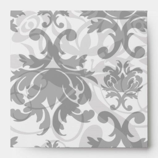 ornate formal black white damask envelope
