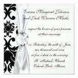 "ornate formal black white damask 5.25"" square invitation card"