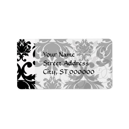 ornate formal black white damask custom address label