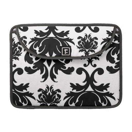 ornate formal black white damask MacBook pro sleeve