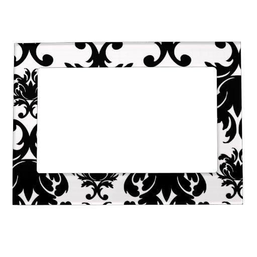 ornate formal black white damask picture frame magnets