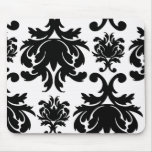 ornate formal black white damask mouse pad