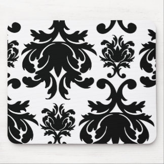 ornate formal black white damask mouse pad