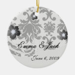 ornate formal black white damask christmas tree ornaments