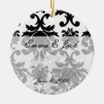 ornate formal black white damask christmas ornament