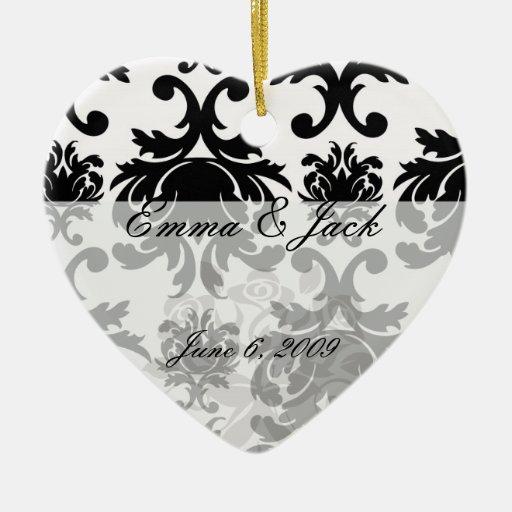 ornate formal black white damask christmas tree ornament