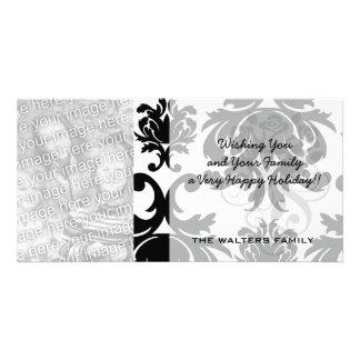 ornate formal black white damask photo greeting card